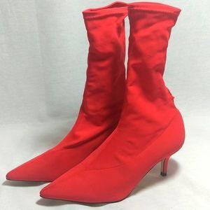Zara Woman Red Kitten Heel Sock Style Boot